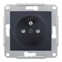 Zásuvka 2P+PE s dětskými clonkami, graphite SDN2800170 SEDNA Schneider Electric