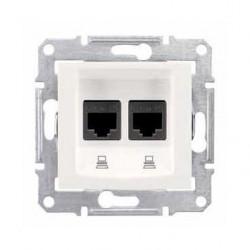 Zásuvka datová 2xRJ45 kat.5e UTP, cream SDN4400123 SEDNA Schneider Electric