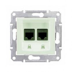 Zásuvka datová 2xRJ45 kat.5e UTP, biege SDN4400147 SEDNA Schneider Electric