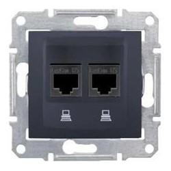 Zásuvka datová 2xRJ45 kat.5e UTP, graphite SDN4400170 SEDNA Schneider Electric