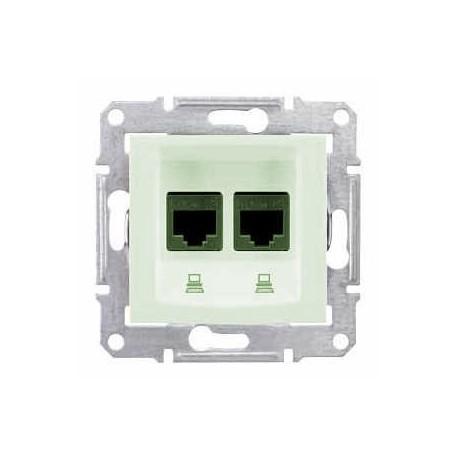 Zásuvka datová 2xRJ45 kat.6 UTP, biege SDN4800147 SEDNA Schneider Electric