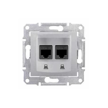 Zásuvka datová 2xRJ45 kat.6 UTP, alu SDN4800160 SEDNA Schneider Electric