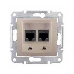 Zásuvka datová 2xRJ45 kat.6 UTP, titan SDN4800168 SEDNA Schneider Electric