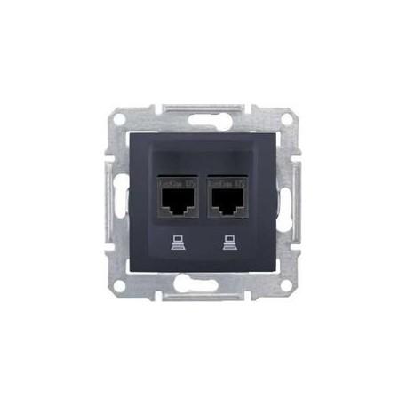 Zásuvka datová 2xRJ45 kat.6 UTP, graphite SDN4800170 SEDNA Schneider Electric