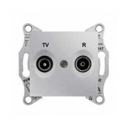 Zásuvka TV-R průběžná 4 dB, alu SDN3301860 SEDNA Schneider Electric