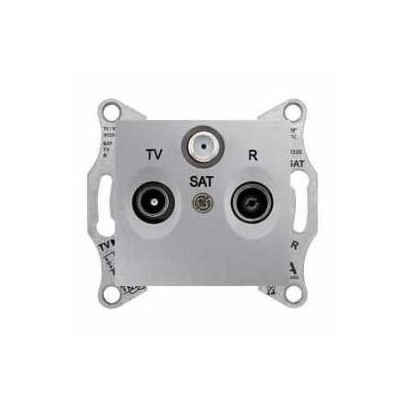 Zásuvka TV-R-SAT průběžná 4 dB, alu SDN3501460 SEDNA Schneider Electric
