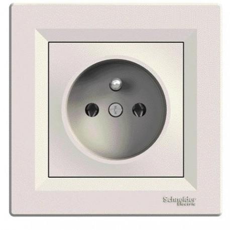 Zásuvka 2P+PE s ochranou před přepětím, clonky, krémová EPH2800223P ASFORA Schneider Electric