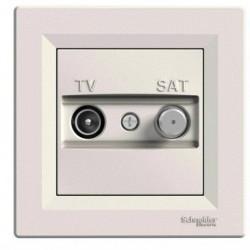 Zásuvka TV-SAT, průběžná, krémová EPH3400323 ASFORA Schneider Electric