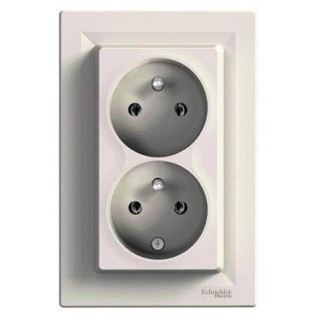 Zásuvka 2násobná 2x(2P+PE), krémová EPH9800123 ASFORA Schneider Electric
