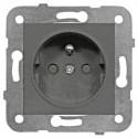 Zásuvka ČSN s dětskou ochranou, šroubové svorky, antracit Schrack VISIO 50 EV111052--