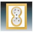 Zásuvka dvojnásobná s ochr. kolíky, s clonkami, s natočenou dutinou bílá/ledová oranžová 5513M-C02357 43 ABB Neo®