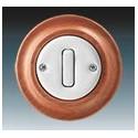 Vypínač, ovládač přepínací, se svorkou N, řazení 6/0 bílá-porc./třešeň 3559K-C86345 52 ABB Decento®