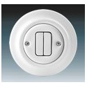 Vypínač, ovládač zapínací dvojitý bílá-porcelán 3559K-C87345 ABB Decento®