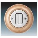 Vypínač, ovládač zapínací dvojitý bílá-porc./přírodní buk 3559K-C87345 50 ABB Decento®