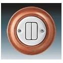 Vypínač, ovládač zapínací dvojitý bílá-porc./třešeň 3559K-C87345 52 ABB Decento®