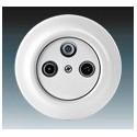 Zásuvka televizní, rozhlasová a satelitní, koncová bílá-porcelán 5011K-C00403 ABB Decento®