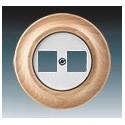 Zásuvka komunikační dvojnásobná bílá-porc./přírodní buk 5014K-C01018 50 ABB Decento®