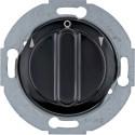 Přepínač, žaluziový 1-pólový, s centrálním dílem a otočným knoflíkem, 16 A, 250 V~, 1930/Glas/Palazzo, černá, lesk, 381101