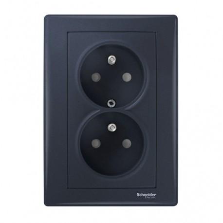 Zásuvka dvojnásobná 2x(2P+PE) s dětskými clonkami, graphite SDN2800570 SEDNA Schneider Electric