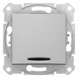 Ovládač tlačítkový s orientační kontrolkou, ř. 1/0So, alu SDN1600160 SEDNA Schneider Electric