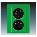 Zás. dvojnásobná s ochr. kolíky, s clonkami, s natoč. dutinou zelená/kouřová černá ABB Levit 5513H-C02357 67