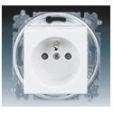 Zásuvka jednonásobná s ochranným kolíkem, s clonkami bílá/bílá ABB Levit 5519H-A02357 03