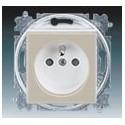 Zásuvka jednonásobná s ochranným kolíkem, s clonkami macchiato/bílá ABB Levit 5519H-A02357 18
