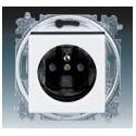 Zásuvka jednonásobná s ochranným kolíkem, s clonkami bílá/kouřová černá ABB Levit 5519H-A02357 62