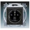 Zásuvka jednonásobná s ochranným kolíkem, s clonkami onyx/kouřová černá ABB Levit 5519H-A02357 63