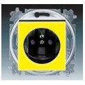 Zásuvka jednonásobná s ochranným kolíkem, s clonkami žlutá/kouřová černá ABB Levit 5519H-A02357 64