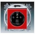 Zásuvka jednonásobná s ochranným kolíkem, s clonkami červená/kouřová černá ABB Levit 5519H-A02357 65