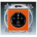 Zásuvka jednonásobná s ochranným kolíkem, s clonkami oranžová/kouřová černá ABB Levit 5519H-A02357 66
