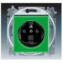 Zásuvka jednonásobná s ochranným kolíkem, s clonkami zelená/kouřová černá ABB Levit 5519H-A02357 67