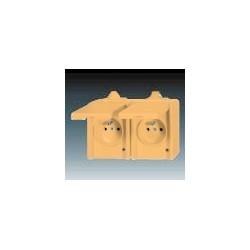 Zásuvka dvojnásobná pro průběžnou montáž, IP44 béžová ABB Praktik ABB Praktik