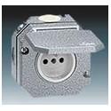 Zásuvka jednonásobná s víčkem, Al, IP55 šedá ABB Garant 5518-2750