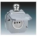 Zásuvka jednonásobná s víčkem a kovovou šroub. průchodkou, Al, IP55 šedá ABB Garant 5518-2760
