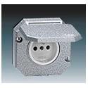 Zásuvka jednonásobná vestavná s víčkem, Al, IP55 šedá ABB Garant 5518-2790